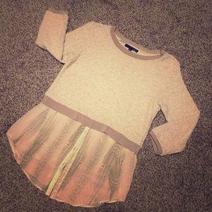 Elie Tahari Two Material Sweater Top